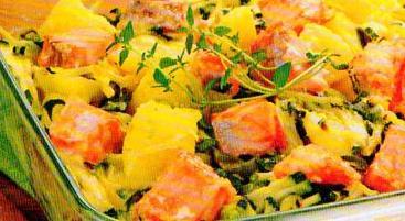 Bulvių lašišos ir cukinijų apkepas
