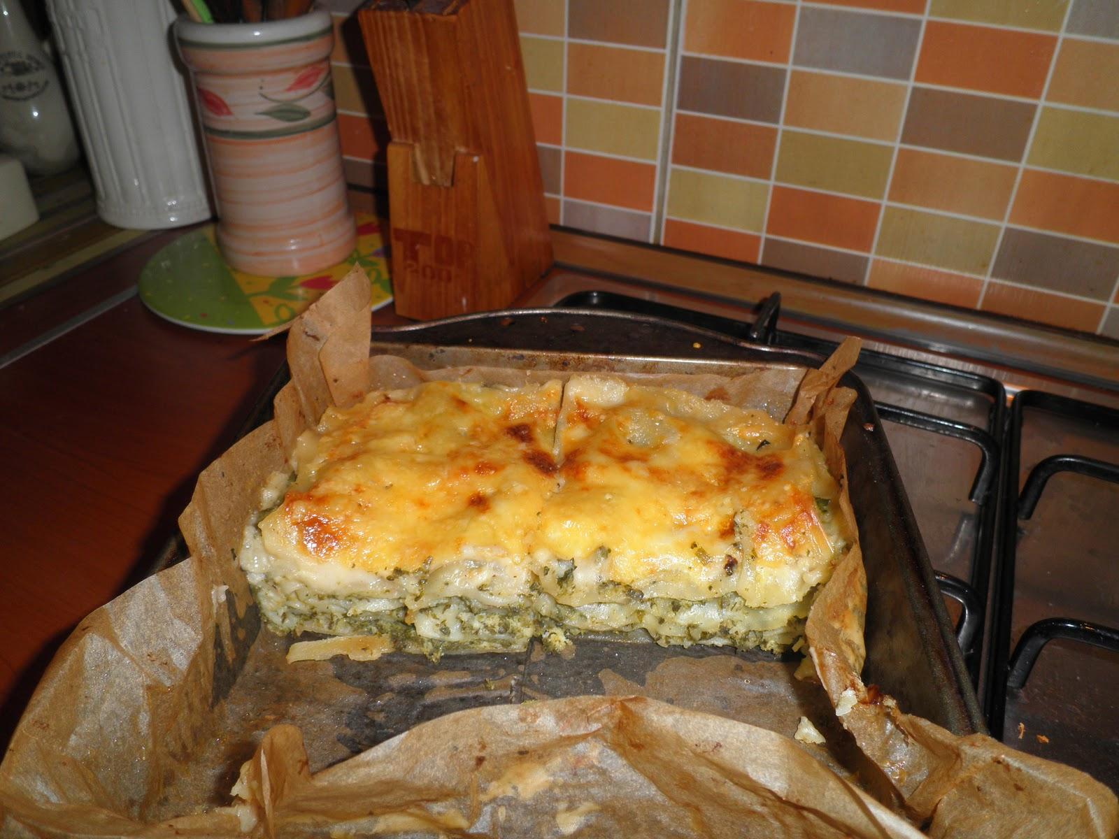 Makaronų patiekalas: Lazanija su varške ir špinatais