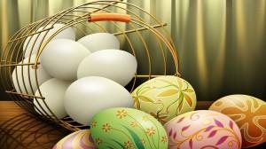 Velykų piešinys - pabirę kiaušiniai iš pintinės