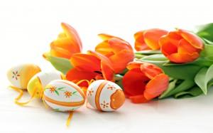 Darbalaukio paveiksliukas Margučiai ir gėlės