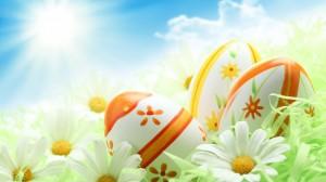 Pavasario šventės - velykos. Tapyti margučiai, ramunės.