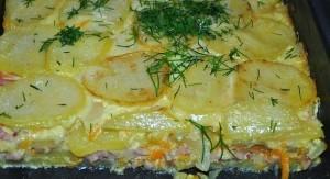 Bulvių apkepas su jautiena ir sūriu