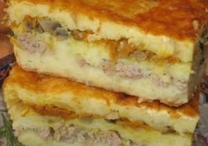 Bulvių apkepas su pievagrybiais ir malta kiauliena