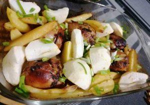 Viščiukų blauzdelės su bulvėmis garstyčių - medaus marinate